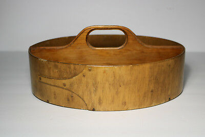 VINTAGE SHAKER STYLE WOODEN OVAL CARRIER SEWING TOTE BOX w/ FINGER LAP