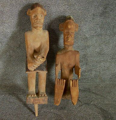 Two Antique Pacific Islands Carvings CANOE ROWER SITTER Folk Art Wood Sculpture