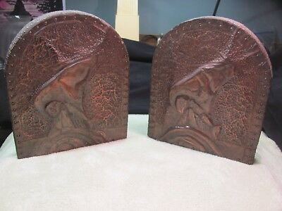 A Vintage Set Of Navajo Southwestern Native American Hand Chased Copper Bookends