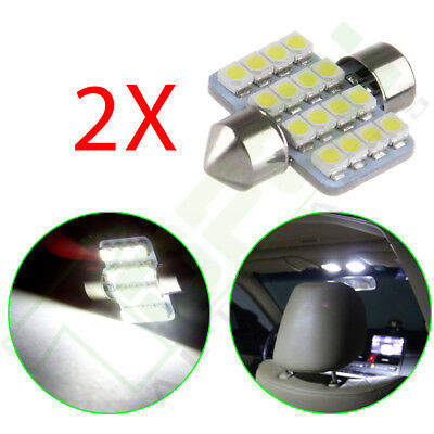 2X White 16-SMD Car LED Bulb Lights Interior Festoon Dome Map Trunk lamps 31mm