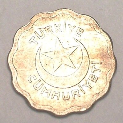 1939 Turkey Turkish One 1 Kurus Star Crescent Moon Scalloped Coin F
