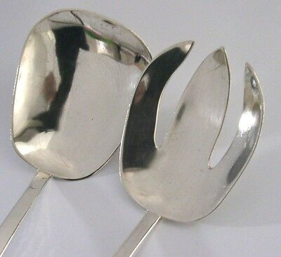 RARE SOLID SILVER SALAD SERVERS 1940-1950s EMILY A DAY 173g ARTS & CRAFTS
