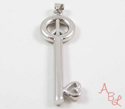 DQ Sterling Silver Vintage 925 Heart & Peace Sign Master Key Pendant 3.5g 743514