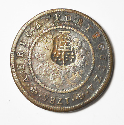 1837 Angola 2 Macutas Countermark Coin Large Copper On 1785 KM#20 Macuta