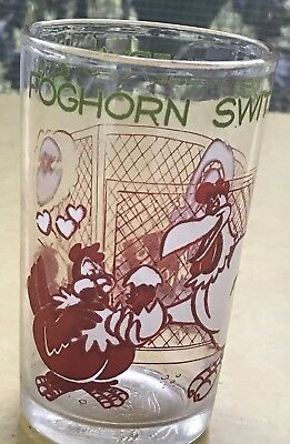 Vintage 1974  Drinking Juice Glass FOGHORN LEGHORN Warner Bros EUC Bright Colors