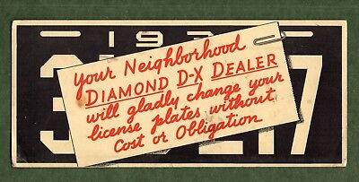 """DIAMOND D-X GAS STATION Ink Blotter - 4""""x9"""", 1930's License Plate, Good Cond"""