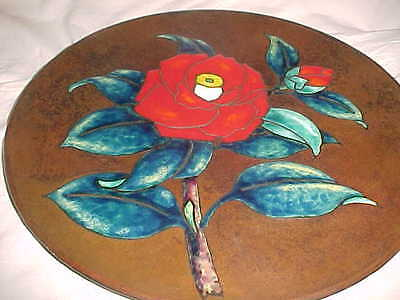 "Beautiful Signed ""Jn"" Arts Crafts Enamel Copper Plate Hammered Japanese-Inspired"