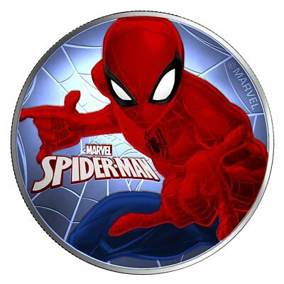 2017 1 Oz Ounce Silver Spiderman Coin .9999 Colorized Blue Red Coa Tuvalu