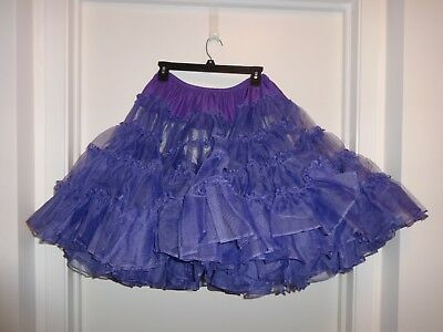 "Ruthad 4 tier 1-layer Purple Crinoline Square Dance Petticoat Slip 21"" Long - M"