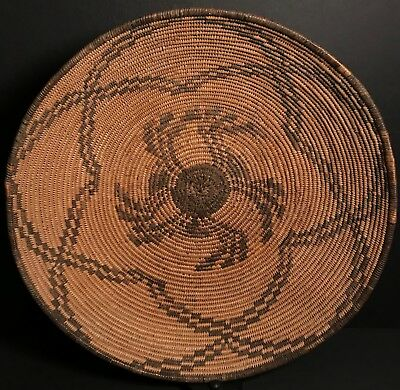Large,Super 15+ Inch, Early 20th C APACHE BASKET,Fine Warm Gold Patina,Excellent