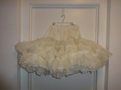 "Ruthad 4 tier 1-layer White Crinoline Square Dance Petticoat Slip 23"" Long - L"