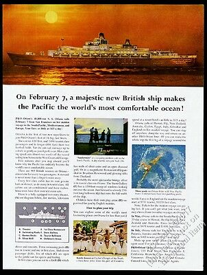 1960 SS Oriana cruise ship photo maiden voyage P&O Orient Line vintage print ad