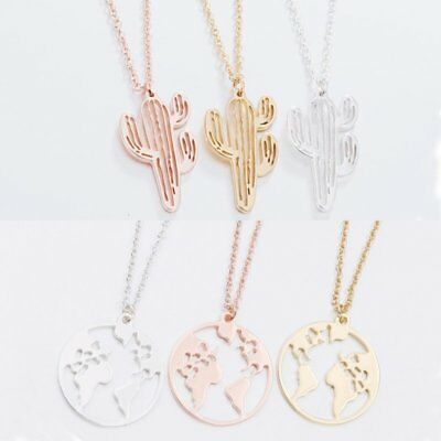 Stainless Steel Hollow Map Cactus Round Pendant Women Necklace Choker Jewelry