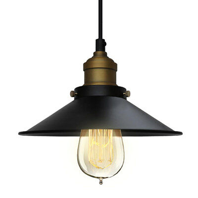 Modern Farmhouse Lamp Vintage Industrial Metal Ceiling Light Black Shade Pendant