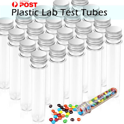 45ml Plastic Lab Test Tubes w/ Metal Caps Screw Top Candy Bath Salt Container AY