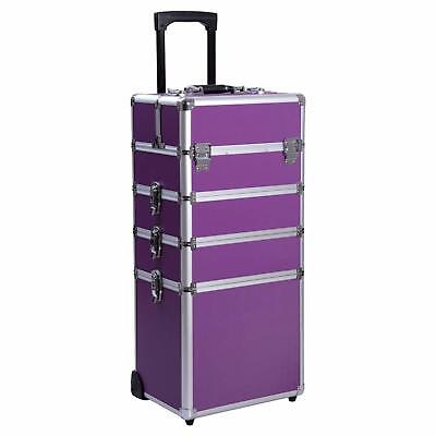 4-in-1 Aluminum Rolling Cosmetic Makeup Train Case Trolley Professional Organize