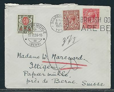 1926 Great Britain Cover - Switzerland Postage Due