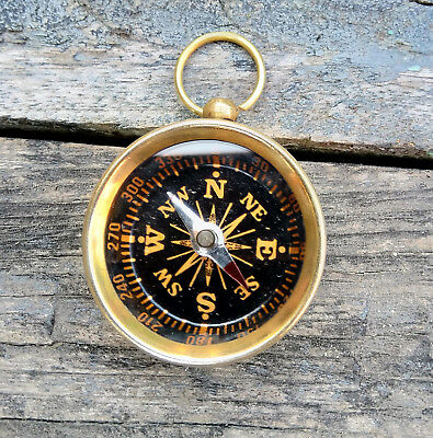 Nautical Collectible Polish Finish Brass Open Face Pocket Compass Key Ring