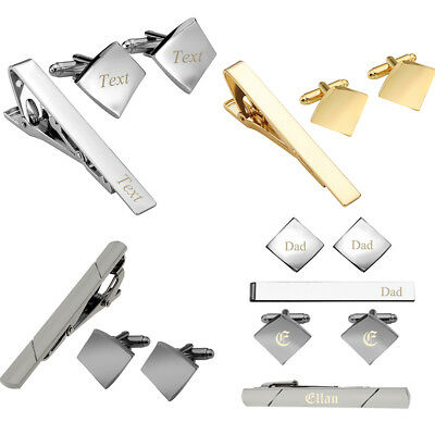 Text Engraved Mens Stainless Steel Square Cufflinks Tie Clip Clasp Business Gift