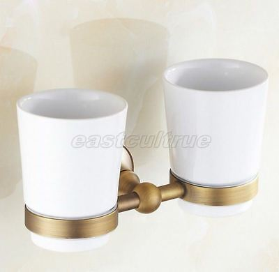 Antique Brass Bathroom Accessory Wall Mounted Dual Cup Toothbrush Holder  eba145