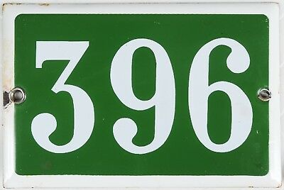Old green French house number 396 door gate plate plaque enamel steel metal sign