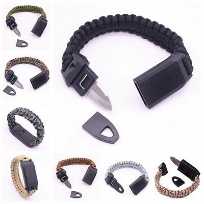 Outdoor Survival Multi Functional 3in1 Paracord Bracelet Whistle Steel Knife Hot