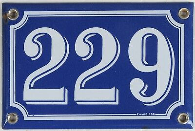 Old blue French house number 229 door gate plate plaque enamel steel metal sign
