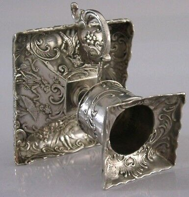 BEAUTIFUL FRENCH or GERMAN SILVER EMBOSSED CANDLE or CHAMBER STICK HOLDER c1900
