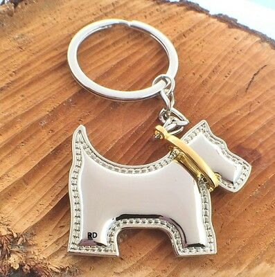 Adorable Scottish Terrier Scottie Dog Key Chain Or Purse Charm  Two- Tone