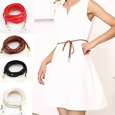 Women Belt with Pearl Decor Braided Waist Belt For Dress Clothes Accessory XI