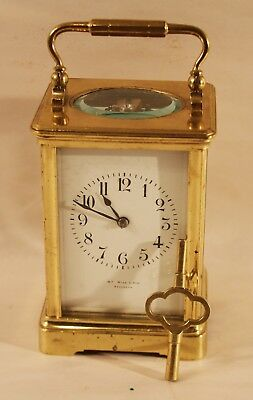 1880s -1900 William Wise & Son Brooklyn NY Brass Carriage Clock with chime
