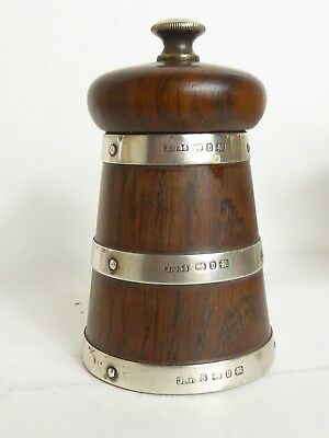 Antique  Solid Silver Band & Hardwood Pepper Mill