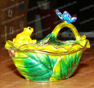 Hand-Crafted, FROG & BUTTERFLY (3478) Baked Enamel Trinket Box