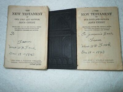 Lot of 2 Vintage New Testament Black Mini Small Bibles For WW2 Soldiers 1943