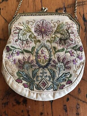 Antique Petit Point Needlepoint Floral Tapestry Purse gold filled frame