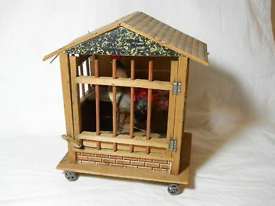 An Antique Rooster & Hen In Wooden Cage Made In Germany Circa 1920's