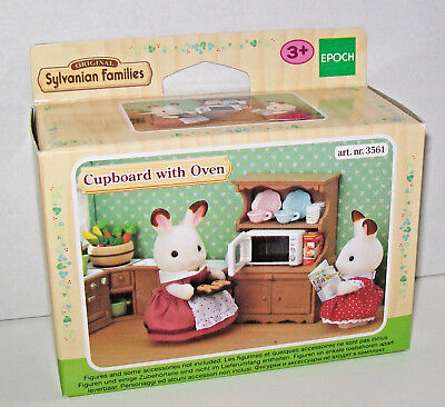 SYLVANIAN FAMILIES 3561 CUPBOARD WITH MICROWAVE OVEN & ACCESSORIES - New & Boxed