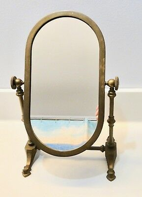 Antique BRASS Vanity TILT Adjustable SHAVING MIRROR ~Nice Patina~ Art Deco
