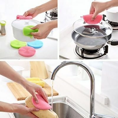3pc Multi-function Antibacterial Silicone Dish Scrubber Brush Dishwashing Sponge