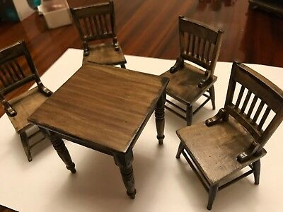 1:12th Scale Miniature Dolls House Table 4 Chairs Good Quality Wooden