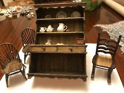 1:12th Scale Miniature Dolls House Dresser Sideboard chairs etc