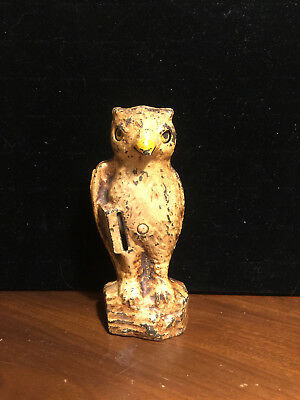 Owl slot in book cast iron mechanical bank