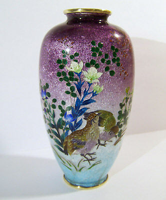 Japanese Ginbari Cloisonne Quail & Flowers Vase as found