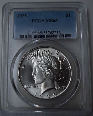 """1925 Peace Dollar """"PCGS MS65"""" *Free S/H After 1st Item*"""