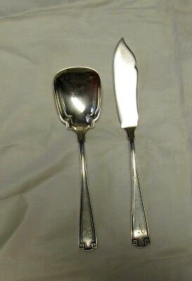 2 PC Gorham ETRUSCAN Sterling Silver Master Butter Knife Sugar Spoon With Monos