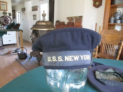 Pre WWII US Navy Battleship USS New York (BB-34) Tally Donald Duck Flat Hat