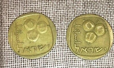Israel 5 Agorot Bronze Coins 1964 And 1 Arogot Coin