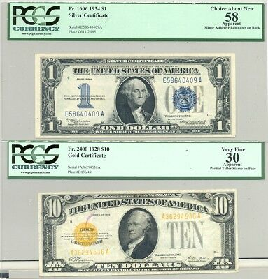 $10 Series 1928 Gold and $1 Series 1934 Silver Certificates in VF 30 and AU 58