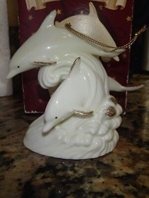 San Francisco Music Box Company Le Blanc Christmas Ornament Musical Dolphins
