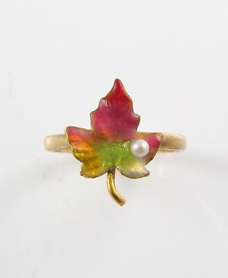 Antique 14k Gold Art Nouveau Victorian Enamel & Pearl Maple Leaf Ring Size 4.5